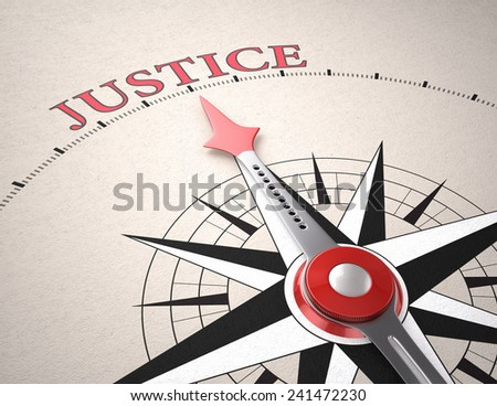 Direction of Justice, Compass concept, 3d render - stock photo