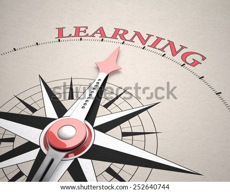 Direction of Learning, Compass concept, 3d render - stock photo