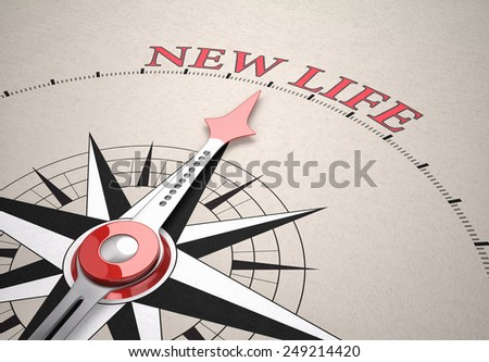 Direction of New Life, Compass concept, 3d render - stock photo