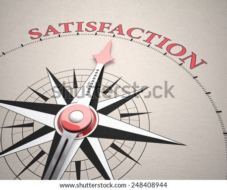 Direction of Satisfaction, Compass concept, 3d render - stock photo