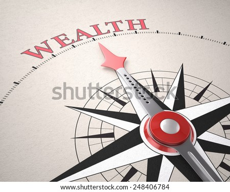 Direction of Wealth, Compass concept, 3d render - stock photo