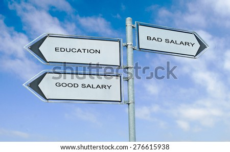 Direction road sign with  words education, good salary, bad salary - stock photo