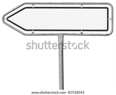 direction sign in arrow shape with copy space and clipping path - stock photo