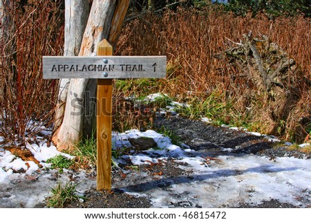 direction sign of appalachian trail in Great Smoky Mountains, USA - stock photo