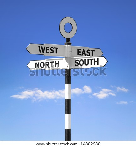 Direction signpost showing the compass points North,South,West and East against a bright blue sky.