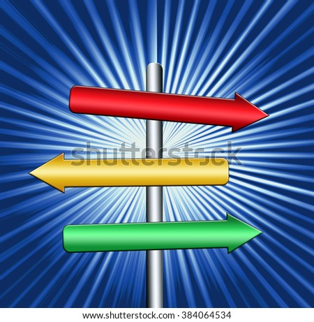 direction signs  against the background of luminous rays - stock photo