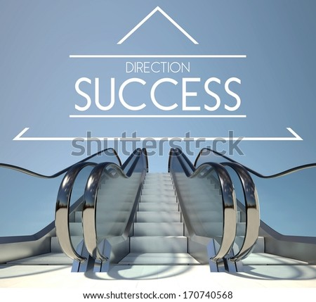 Direction success concept with stairway to heaven - stock photo