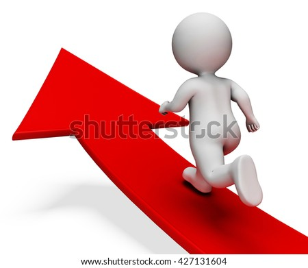 Direction Success Showing Arrow Sign And Illustration 3d Rendering - stock photo