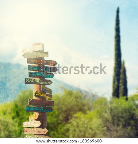 Direction to different places of the world - stock photo