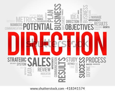 Direction word cloud, business concept - stock photo
