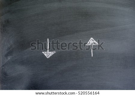 directional arrows written on a chalkboard