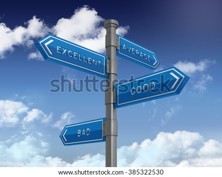 Directional Sign Series: AVERAGE EXCELLENT GOOD BAD BALANCE- Blue Sky and Clouds Background - High Quality 3D Rendering.   - stock photo