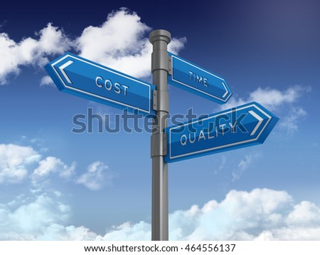 Directional Sign Series: COST TIME QUALITY - Blue Sky and Clouds Background - High Quality 3D Rendering / Illustration