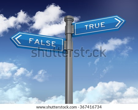 Directional Sign Series: FALSE TRUE BALANCE - Blue Sky and Clouds Background - High Quality 3D Rendering - stock photo