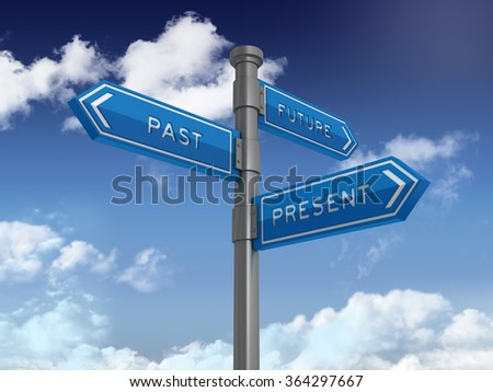 Directional Sign Series: FUTURE PAST PRESENT - Blue Sky and Clouds Background - High Quality 3D Rendering