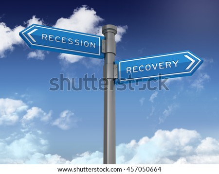 Directional Sign Series: RECESSION RECOVERY - Blue Sky and Clouds Background - High Quality 3D Rendering / illustration