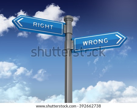 Directional Sign Series: RIGHT WRONG - Blue Sky and Clouds Background - High Quality 3D Rendering.   - stock photo