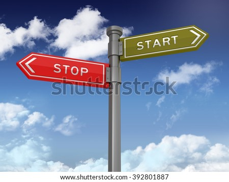 Directional Sign Series: STOP START BALANCE - Blue Sky and Clouds Background - High Quality 3D Rendering.