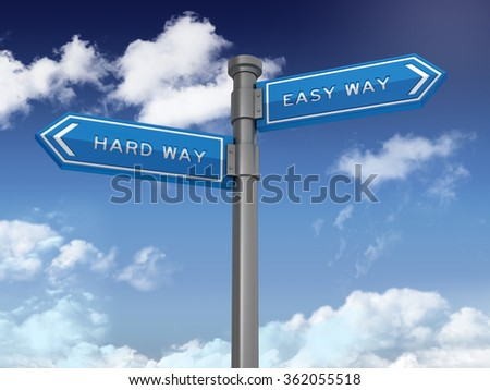 Directional Sign with HARD WAY and EASY WAY Words.. Blue Sky and Clouds Background. High Quality 3D Rendering.