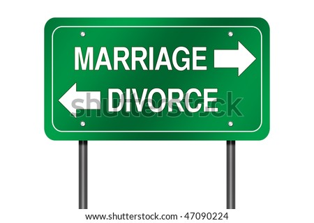 "Directional Sign with ""Marriage and Divorce"" - stock photo"