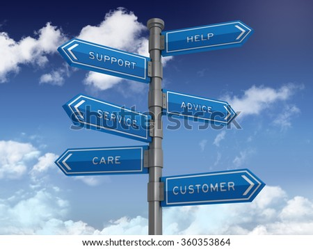Directional Sign with Support Words - Blue Sky and Clouds Background - High Quality 3D Rendering  - stock photo