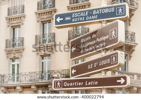 Directional signpost to Parisian landmarks in central Paris