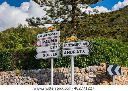 Directional Signs near Valldemosa, Majorca, Balearic Islands, Spain.