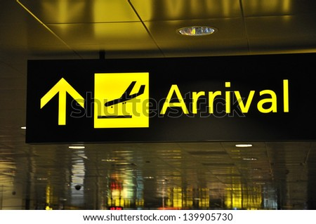 directions for passengers at international airport - stock photo