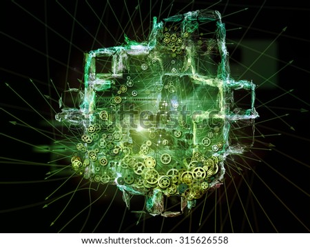 Directions of Technology series. Arrangement of gears, arrows and organic forms on the subject of science, education and technology - stock photo