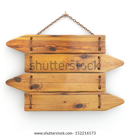 Directions. Old wood signboard on chain.  3d