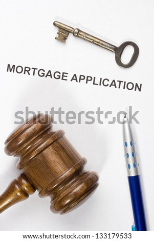 Directly above photograph of a mortgage application.