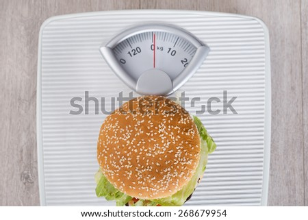 Directly above shot of burger on weight scale