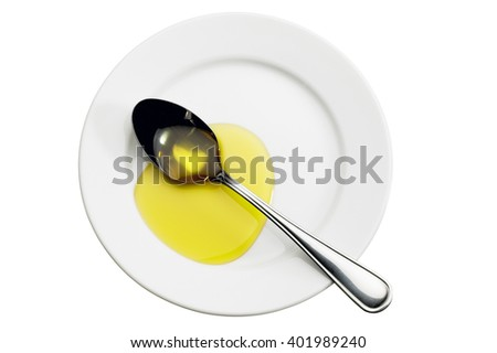 Directly above shot of spoon and olive oil on plate on white background - stock photo