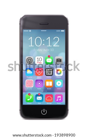 Directly front view of a modern black mobile smart phone with flat design application icons on the screen isolated on white background. High quality.