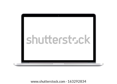 Directly  front view of a modern laptop with a white screen isolated on white background. High quality.