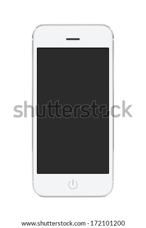 Directly front view of a modern white mobile smart phone with blank screen isolated on white background. High quality. - stock photo