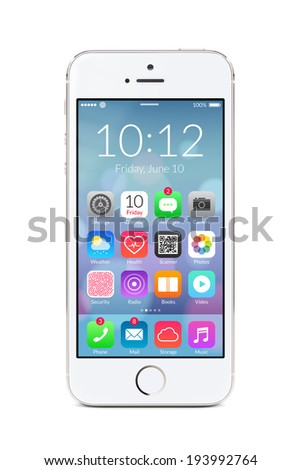Directly front view of a modern white mobile smart phone with flat design application icons on the screen isolated on white background. High quality. - stock photo