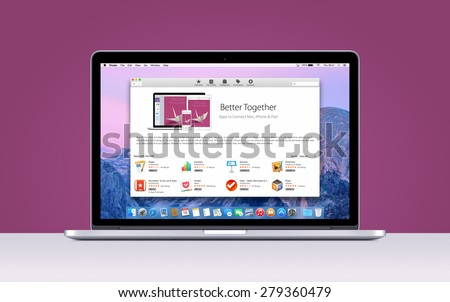 Directly front view of Apple MacBook Pro Retina with an open App Store on purple background. Varna, Bulgaria - November 03, 2013.