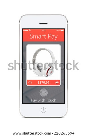 Directly front view of white smartphone with nfc smart pay application on the screen isolated on white background. The concept of purchase of headphones by fingerprint scanning. - stock photo