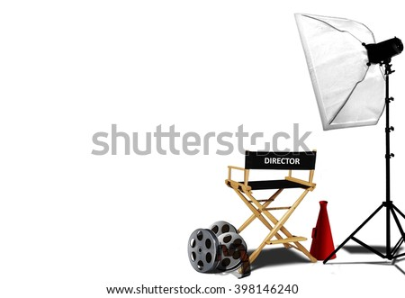 Director chair and equipment over white - stock photo