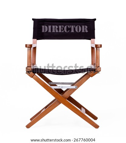 Director's Chair in Film Industry. Front View Isolated on White background