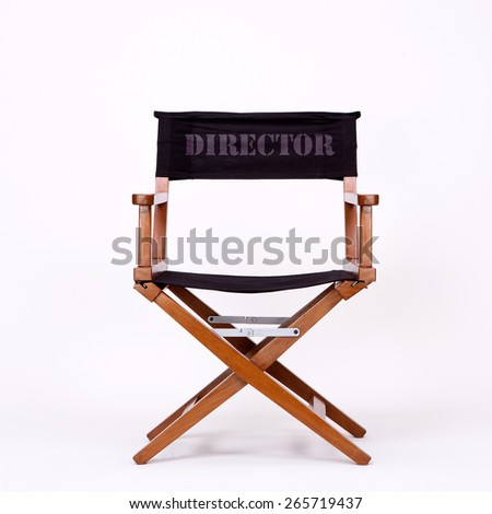 Director's Chair in Film Industry, Isolated on White background with Real Shadow