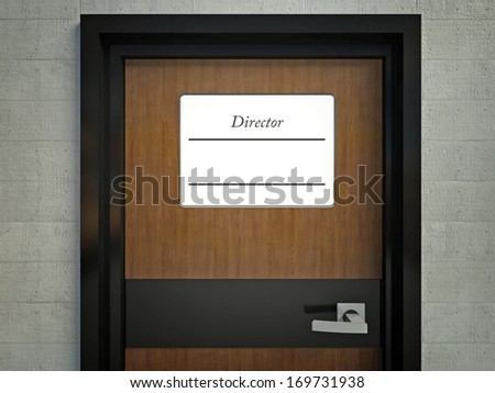 Director sign with copy space for name hanging on a office door