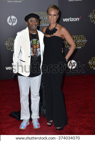 "Director Spike Lee & wife Tonya Lewis Lee at the world premiere of ""Star Wars: The Force Awakens"" on Hollywood Boulevard. December 14, 2015  Los Angeles, CA Picture: Paul Smith / Featureflash - stock photo"