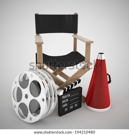 directors chair and cinema concept - stock photo