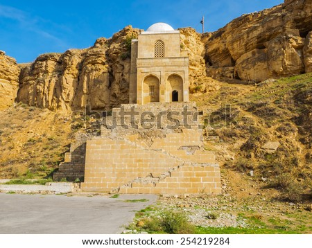 Diri Baba Mausoleum in Maraza city of Gobustan Rayon, Azerbaijan - stock photo