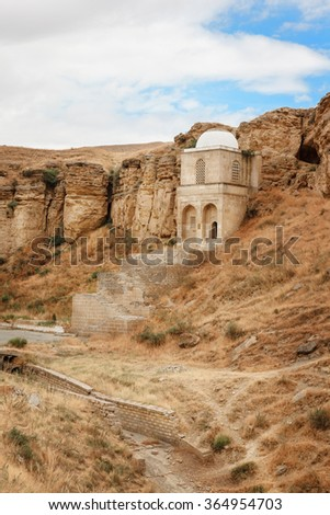 Diri Baba Mausoleum in Maraza city of Gobustan Region, Azerbaijan located in the mountain