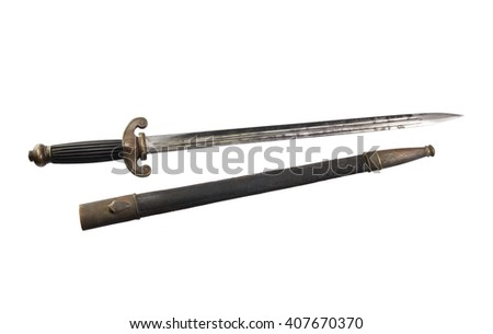 dirk of French Maritime Administration with scabbard, in 1860, isolated - stock photo