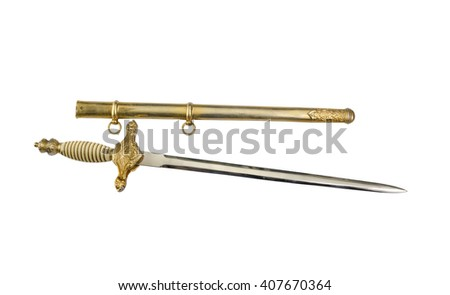 dirk Spanish Airborne Forces with scabbard, 1939-1975 years, isolated  - stock photo