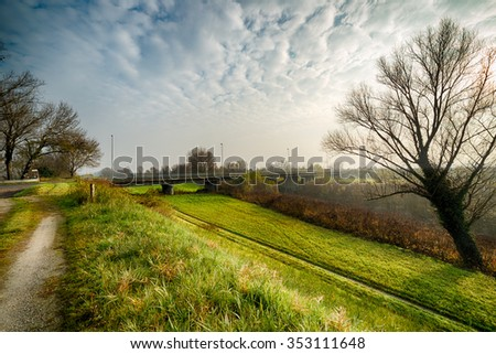 Dirt country road in the misty countryside of Romagna in Italy in a winter day